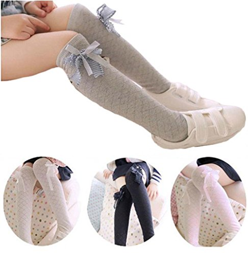 Udobuy 4 Pairs Bows Knee High Socks Baby Girls Bow Sock Leg Warmer Cotton Over Calf Knee High Socks for Baby Girl Toddler (Bow Knee Sock)