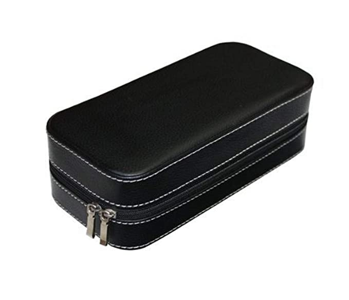ca0b6a5c62f5 Black Two 2 Piece Zippered Watch Travel Case Black Interior Storage  Organizer Watch Collection Travel Bag