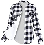 #6: Ladies' Code Women's Winter Flannel Plaid Button Down Top with Sherpa Fleece Lining