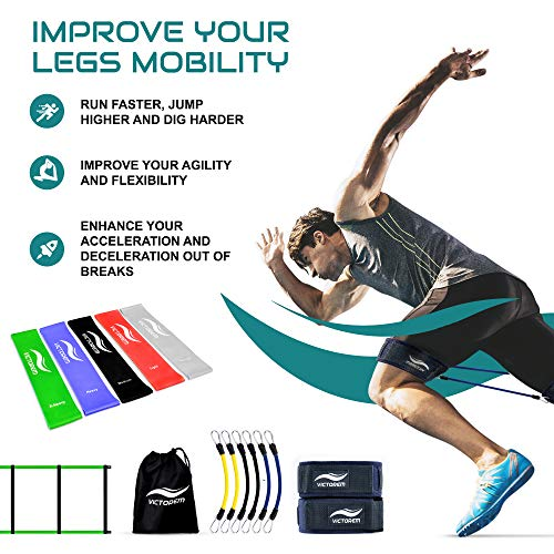 Victorem Ultimate Speed Agility Training Set – Speed Bands, Parachute, Overspeed Bungee, Running Ladder– Physical Fitness Workout Set – Muscle Endurance - Football, Basketball, Soccer, Track and Field by Victorem (Image #1)
