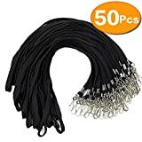 Black Lanyard Bulk Clips Swivel Hooks 50 Pack 17.5-inch Cotton Neck Flat Woven Black Lanyards with Clip for Id Badges