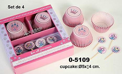 DonRegaloWeb - Set de 4 cajas con 24 capsulas de papel decoradas para cupcake y piezas para decorar.: Amazon.es: Hogar