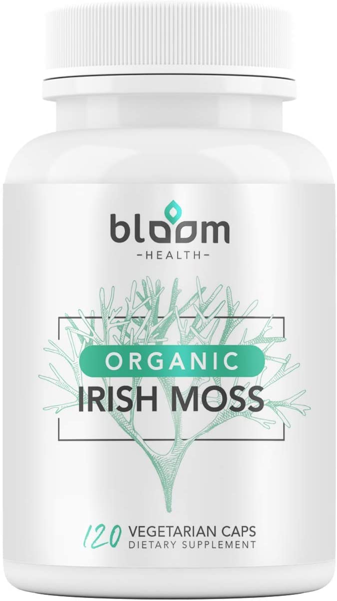Bloom Health Sea Moss Supplement - Organic Irish Moss for Immune Support - Non-GMO Seamoss Capsules for Thyroid Health - Vegan Raw Seamoss Pills with Organic Bladderwrack Powder - 120 Vegetarian Caps