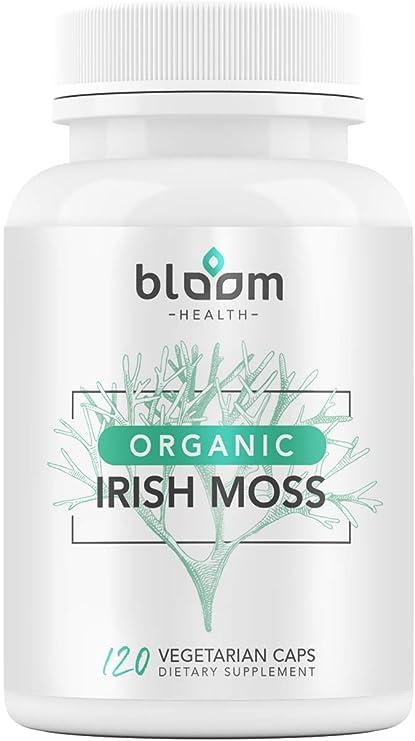 Bloom Health Sea Moss Supplement - 1600mg Organic Irish Moss for Immune Support - Seamoss Capsules for Thyroid Health - Vegan Raw Seamoss Pills with Organic Bladderwrack Powder - 120 Vegetarian Caps