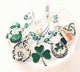 St. Patrick's Day Wine Charms, Irish Wine Charms, Irish Gifts, Flag Shamrock and Claddagh Wine Charm Glass Tag Identifier - 6 wine charms