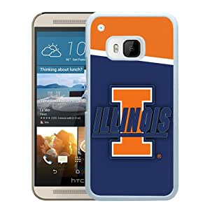 NCAA Illinois Fighting Illini 8 White Customize HTC ONE M9 Phone Cover Case