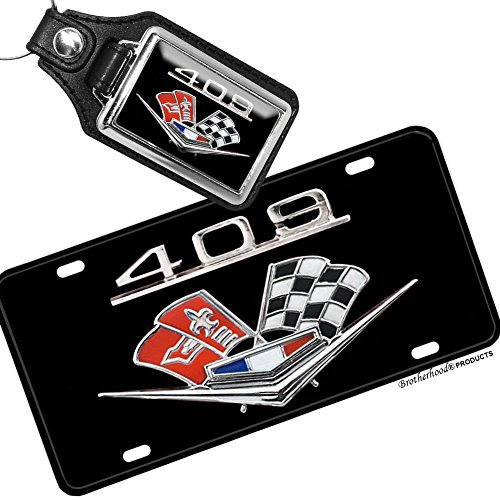 Brotherhood Chevrolet 409 Engine Emblem License Plate and Matching Key Ring