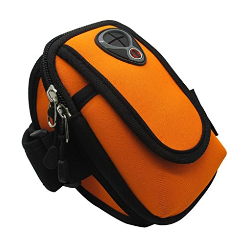 co2CREA(TM) Water Resistant Neoprene Sports Gym Jogging Bike Bicycle Running Case Armband For Apple iphone 6 6 Plus,Samsung Galaxy S4 S5 S6 Note, LG G3 F60 G2,HuaWei Sony HTC Google with small Accessores, Card, Key.Size: L (Orange)