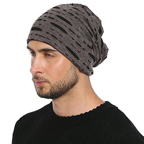DonDon Bonnet hommes in Destroyed Look toute saison jersey bonnet Slouch Beanie respirant et doux s'adaptant à toutes les tailles de tête