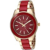 Anne Klein Women's Gold-Tone and Red Resin Bracelet Watch