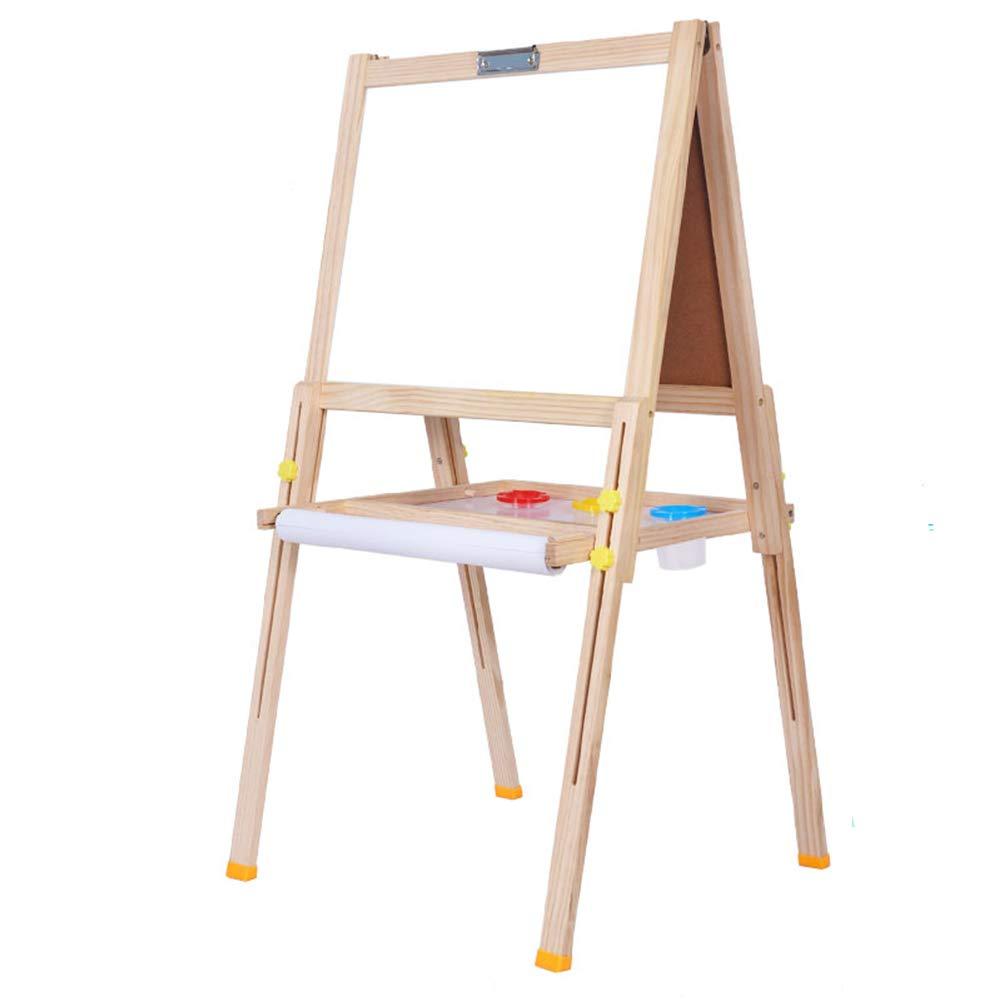 Caballete BSNOWF Tablero De Dibujo Ajustable De Los Niños del Doble del Lado Niños 3+ Juguetes Educativos Portátiles Plegables (Color : Color Madera)