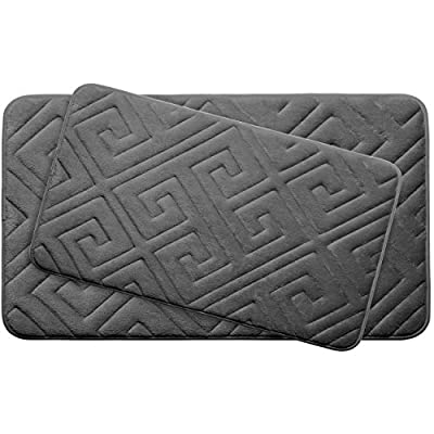 """Bounce Comfort Caicos Extra Thick Premium Memory Foam Bath Mat Set of 2 with BounceComfort Technology, 20 x 32"""" Dark Grey - Includes two Bounce Comfort plush memory foam bath mats Small set includes (2) 17x24 inch bath mats Large set includes (1) 20 x 32 inch and (1) 17 x 24 inch bath mat - bathroom-linens, bathroom, bath-mats - 51gzYsJmz7L. SS400  -"""