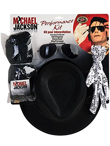 (Michael Jackson Costume Accessory Kit with Wig, Hat, Glove and)
