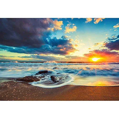 wall26 - Beautiful Cloudscape Over The Sea, Sunrise Shot - Removable Wall Mural   Self-Adhesive Large Wallpaper - 66x96 inches by wall26 (Image #1)