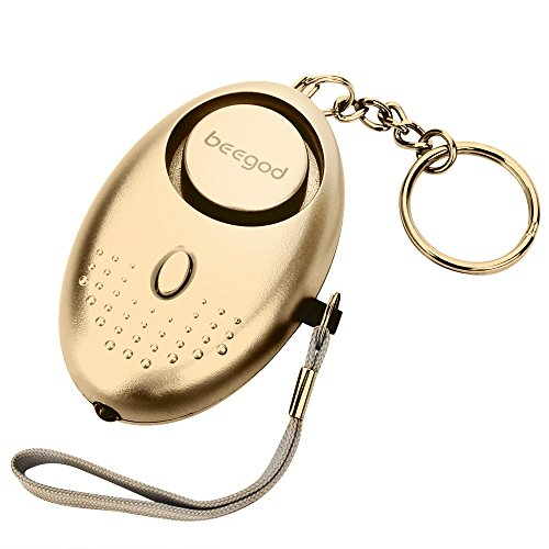 beegod Emergency Personal Security Alarms Self-Defense 130 DB Decibels with LED Light Safety (Gold)