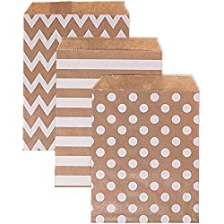 Chloe Elizabeth Food Safe Biodegradable Paper Candy Favor & Treat Bags For All Parties - 48 Count Assorted, 7x5 Size (Kraft Brown, White)