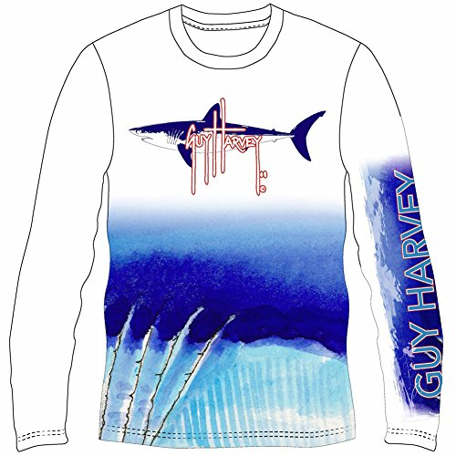 Mako Dive - Guy Harvey Mako Shark UVX Pro Long Sleeve Performance T-Shirt (X-Large, White)