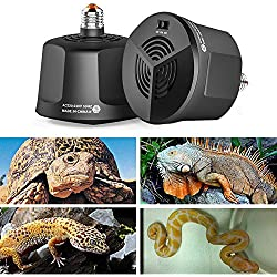 AUOKER Reptile Heat Lamp Fixture, E27 Fire-Resistant Cultivation Heating Lamp with Temperature Control for Reptile/Aquatic/ Poultry, Adjustable Aquarium Reptile Heater Tank Thermostat Fan Heater (S)