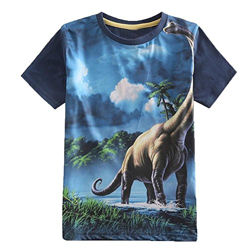 Frogwill Toddler Boys Summer Dinosaur Short Sleeve 3D T-Shirt 7/8Y by Frogwill