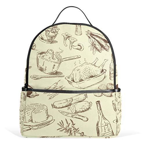MUOOUM Turkey Sausage Cauliflower Backpack Casual Daypack School College Travel Bag for Teens Boys Girls