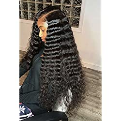 Best Long Water Wavy Free Part Full Lace Wigs For Black Women Wet Wave Brailian Virgin Human Curly Hair Wigs Nnatural Color Wavy Wig For African American (18Inch 130Density, Full Lace Wig)