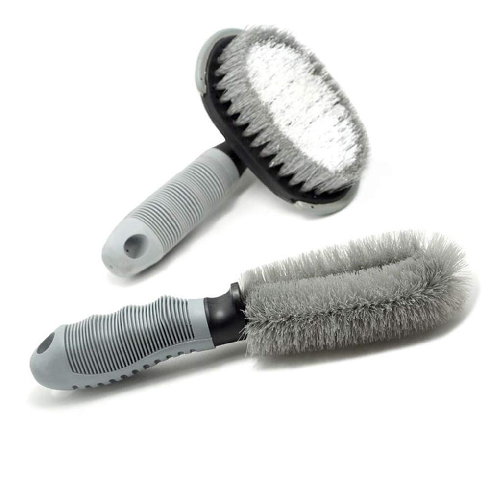 Fliyeong Wash Wheel Hub Brush Car Rim Cleaner Kit Wheels Brush Hand Washing Brush Detail Brush for Car Cleaning Combination Set(Gray)
