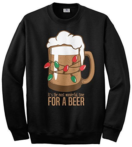 Beer Sweatshirt (Threadrock Wonderful Time For A Beer Unisex Sweatshirt XL Black)