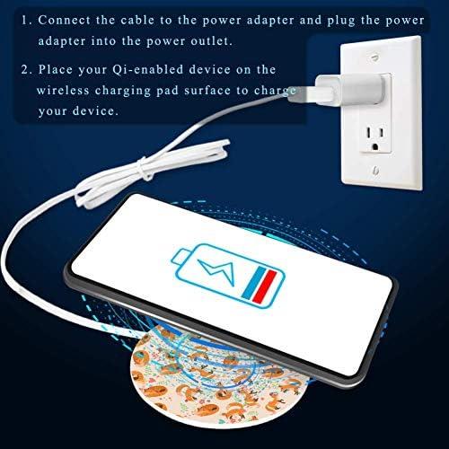 MUOOUM een schattig vossenpatroon snelle draadloze oplader, draadloos opladen Pad 10W Unibody Fast Charging Pad Compatibel voor iPhone, airpods of een Qi enabled Smartphone