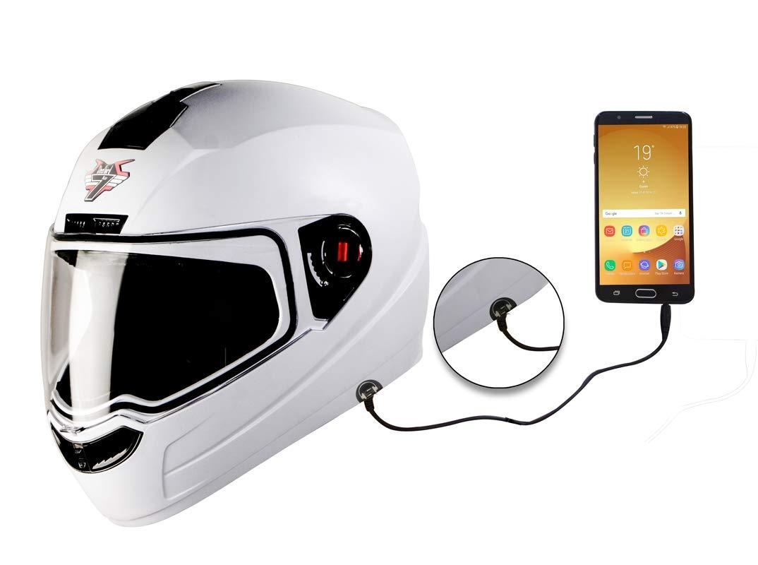 Steelbird SBA-1 7Wings HF Dashing Full Face Helmet with Plain Visor and Detachable Handsfree Device (REGULAR FIT MEDIUM 580 MM, WHITE)
