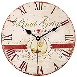 SkyNature Wooden Wall Clock, Silent Non-Ticking Battery Operated Quartz Movement, Large Roman Numerals Vintage Rustic Decorative Clock for Living, Dining, Bedroom, Kitchen - 12 Inch, Wine