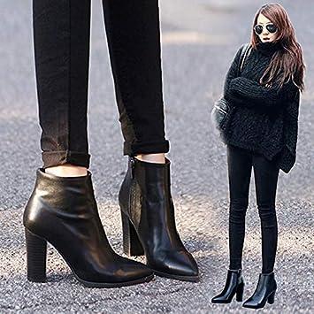 Shukun Botines Botines de Mujer de tacón Alto Primavera y otoño Acentuados Gruesos con Martin Boots