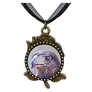 Chicforest Bronze Retro Style The Overlook Eagle Rose Flower Pendant