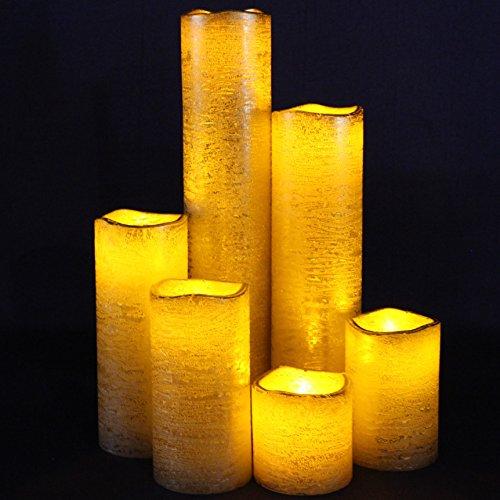 Gold Flameless Timer LED Candles - Slim Set of 6, 2
