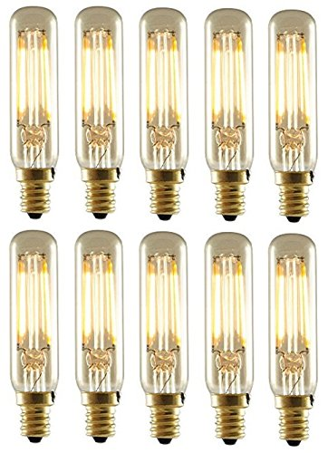 Bulbrite 776504 LED2T6/22K/FIL-NOS 2-Watt LED Nostalgic Mini Radio Tube Bulb, 25W Equivalent, Candelabra Base, Antique Finish (Pack of 10)