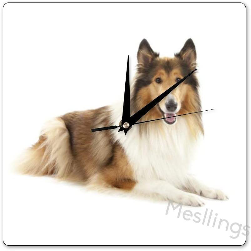 Mesllings Scale-Free Wall Clocks The Dog Collie Laying On The Floor Square Wall Clock, Wall Decor Clocks for Kitchen, Office, Retro Hanging Clock, Home Decor Accessories