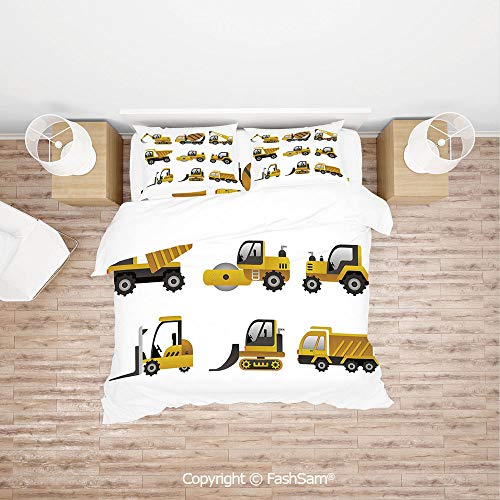FashSam Duvet Cover 4 Pcs Comforter Cover Set Big Vehicles Icon Collection Engineering Building Theme Clip Art Style Decorative for Boys Grils ()