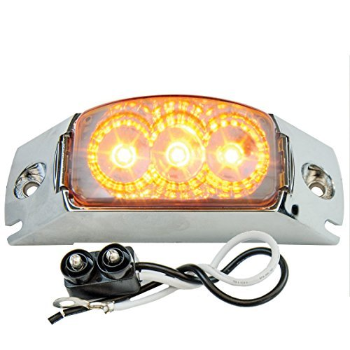 GG Grand General 77901 S. Rect. Spyder Amber Led Light with Clear Rail Rim