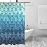Mermaid Shower Curtain ALAZA Shower Curtain Backdrop Royal Blue Mermaid Scales Geometric Rhombus Bathroom Home Decor Set Fabric Bridal Washable 12 Hooks Women 72x72 inch