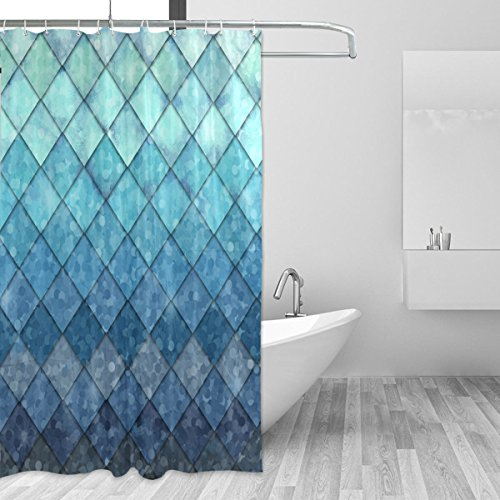 Ocean Blue Teal Mermaid Shower Curtain