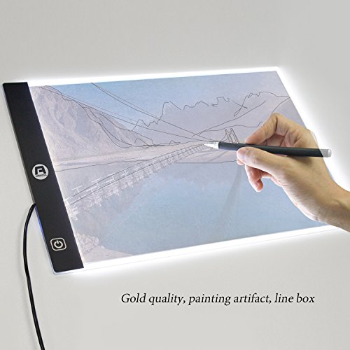 Airkoul Ultra-Thin Portable LED Light Box Tracer USB Power LED Artcraft Tracing Light Pad Light Box for Artists for Drawing,Sketching,Artists,Animation (A4)