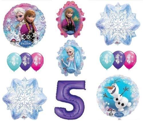 LoonBalloon FROZEN Anna ELSA OLAF Snowman Snowflake 5th #5 12 Birthday Party Balloons Set O by LoonBalloon ()