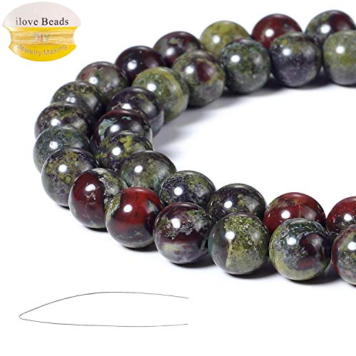 ILVBD Natural Round Dragon Blood Gemstone Beads 4/6/8/10/12MM for DIY Jewelry Bracelet Making Bulk (Dragon Blood, 6MM) ()