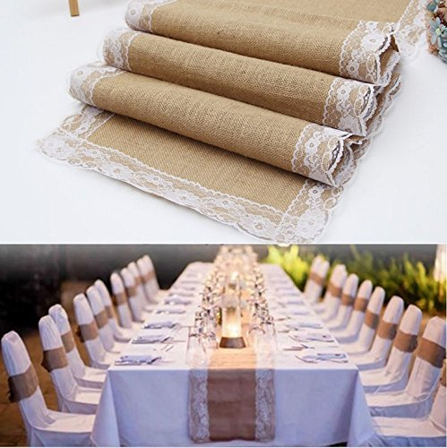 Haperlare 12 x 108 inch Natural Vintage Burlap Table Runner with Lace Jute Tablecloth Hessian Table Runner Burlap Tablecloth for Country Outdoor Wedding Party Home,Rustic Wedding Table Decorations