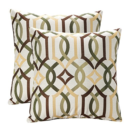 Pack of 2 SimpleDecor Jacquard Geometric Links Accent Decorative Throw Pillow Covers Cushion Case Multicolor 18X18 Inch Brown (Camel Brown Couch)