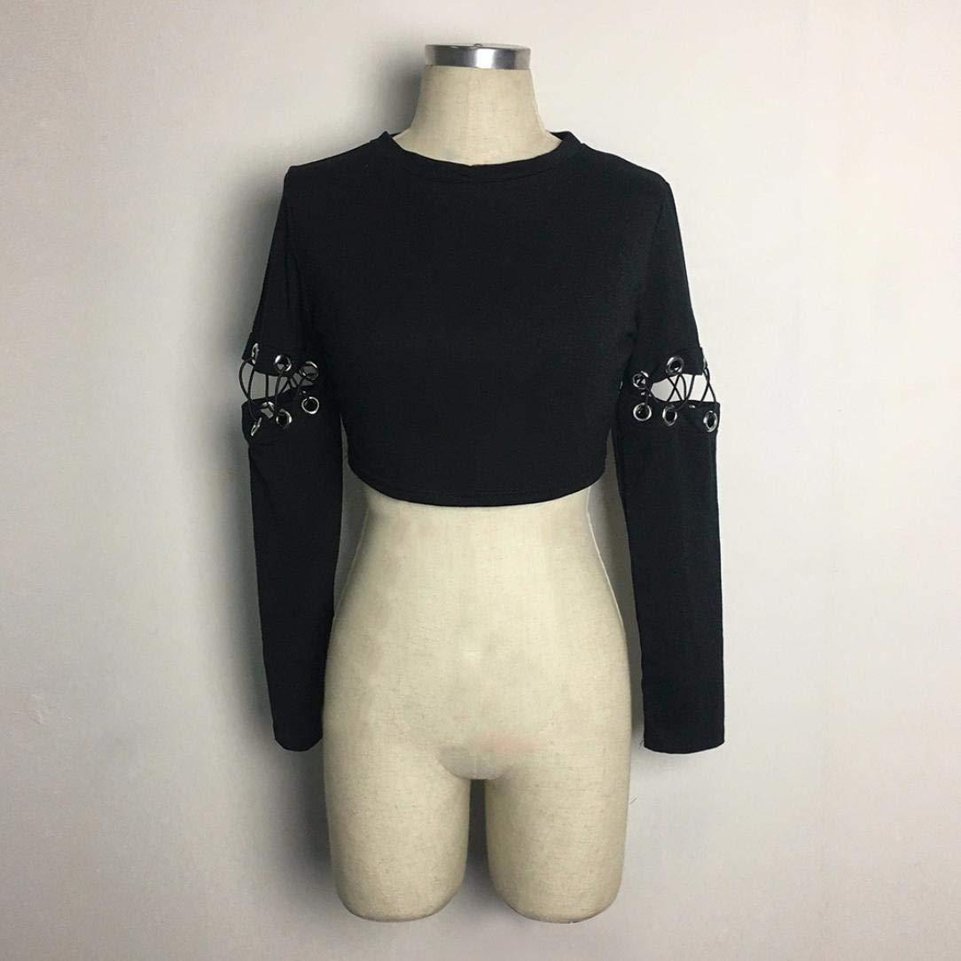 MEIbax Slim Mujeres Sexy Damas Negro Correas Camisa Superior gabinete Blusa de Manga Larga: Amazon.es: Ropa y accesorios