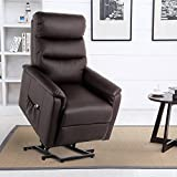 Esright Reclining Chair Power Lift Recliner Wall Hugger PU Leather with Remote Control (Brown)