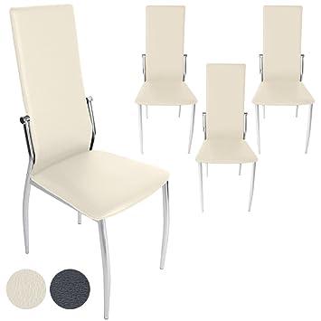 Miadomodo – Conjunto de 4 sillas de comedor de cuero artificial - Crema – Dos colores a elegir