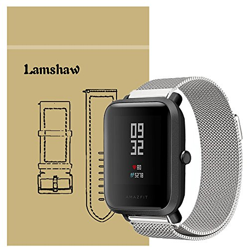 (for Xiaomi Amazfit Bip Band, Lamshaw Milanese Magnetic Loop Stainless Steel Mesh Replacement Strap for Xiaomi Huami Amazfit Bip Younth Watch (Wrist (6.5-9
