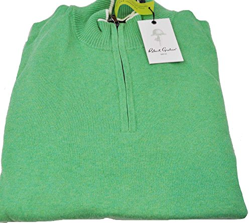 robert-graham-mens-medium-heather-green-long-sleeve-1-4-zip-pullover-sweater