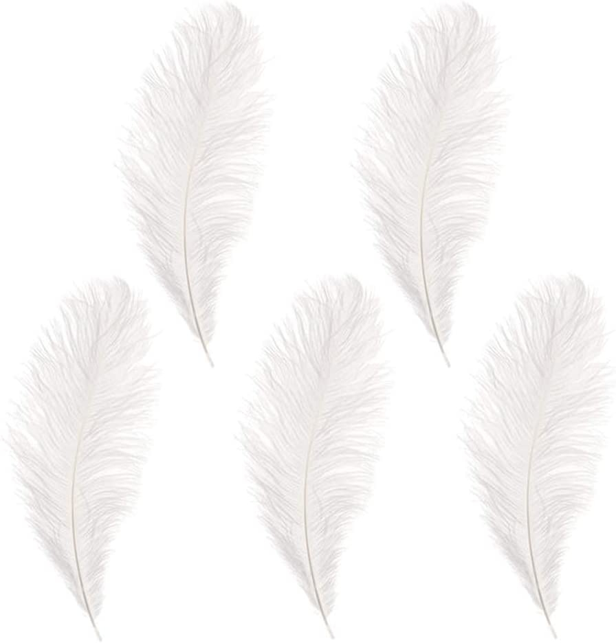 10-12 inches Ostrich Feather Real Natural Feather for Home Decor Party Wedding Decorations, Pack of 5(White)